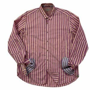 Ted Baker Button Front Shirt Ted Fit 6 2XL Stripe
